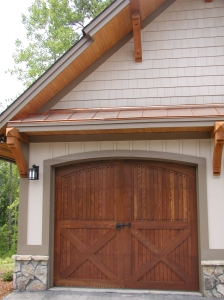 Garage doors on a New South Classics Mountain Home Garage